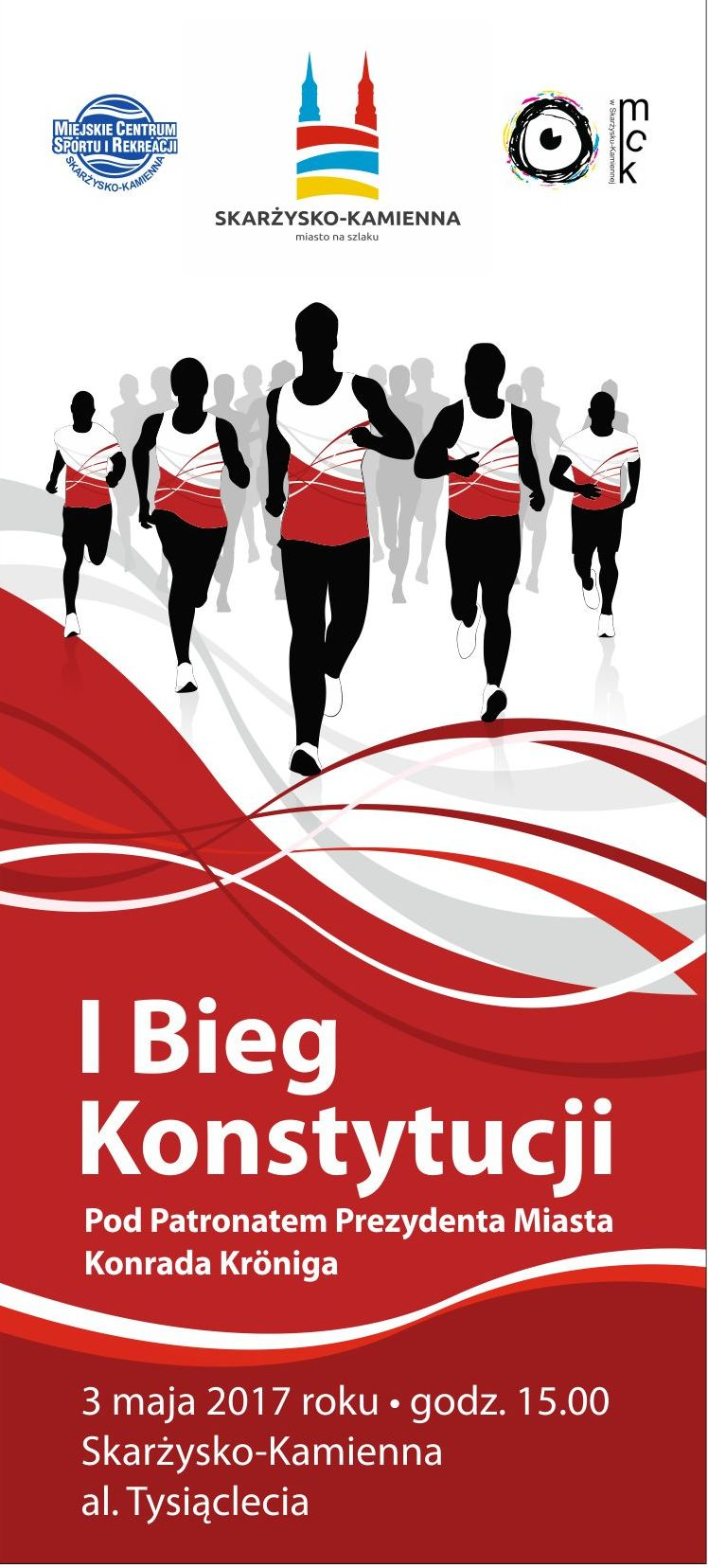 Logo I Bieg Konstytucji w Skarżysku-Kamiennej Pod Patronatem Prezydenta Miasta  Konrada Kröniga - Bieg na 15km przez Skarżysko  Kamienna